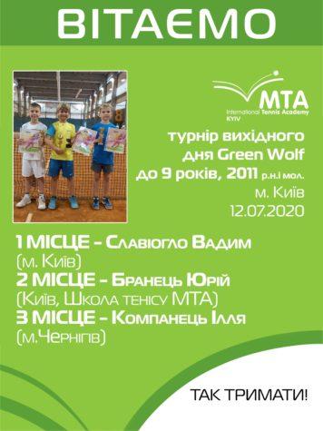 """Регіональний турнір вихідного дня """"Green Wolf """" до 9 років, 2011 р.н. і мол."""