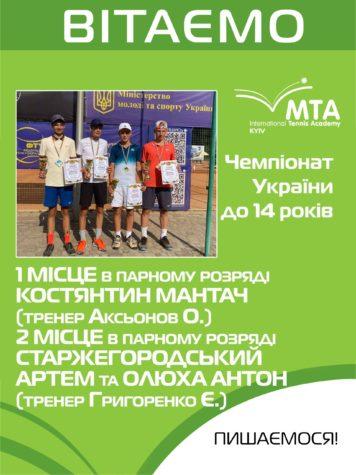 Поздравляем победителей Чемпионата Украины до 14 лет